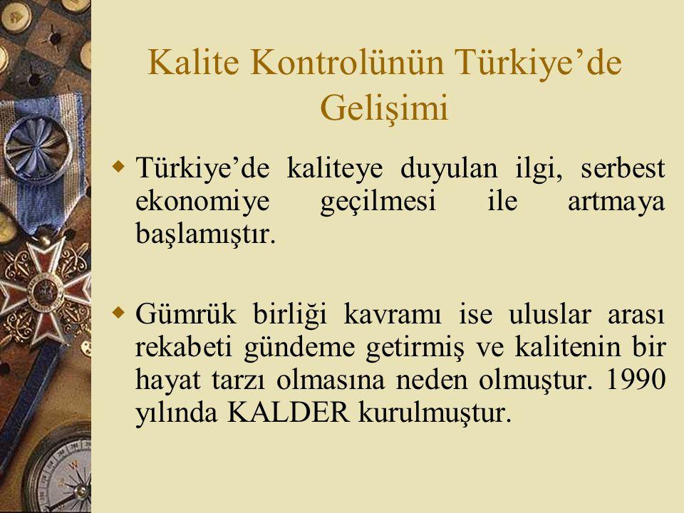 Kalite Kontrolünün Türkiye'de Gelişimi  Türkiye'de kaliteye duyulan ilgi, serbest ekonomiye geçilmesi ile artmaya başlamıştır.  Gümrük birliği kavra