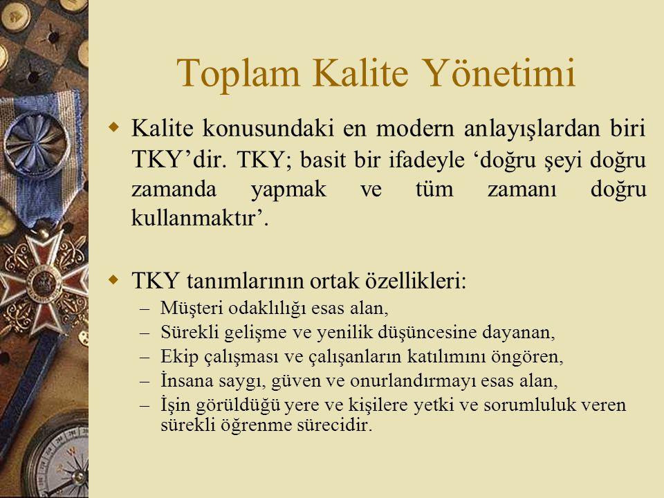 Toplam Kalite Yönetimi  Kalite konusundaki en modern anlayışlardan biri TKY'dir. TKY; basit bir ifadeyle 'doğru şeyi doğru zamanda yapmak ve tüm zama