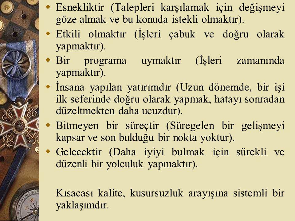 Toplam Kalite Yönetimi  Kalite konusundaki en modern anlayışlardan biri TKY'dir.