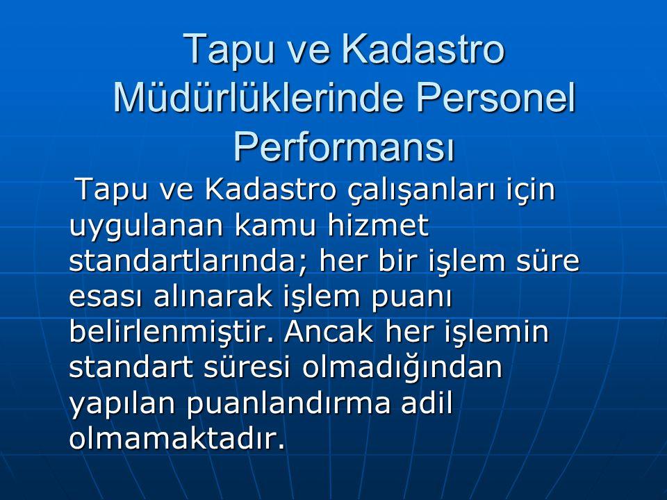 Tapu ve Kadastro Müdürlüklerinde Personel Performansı Tapu ve Kadastro çalışanları için uygulanan kamu hizmet standartlarında; her bir işlem süre esası alınarak işlem puanı belirlenmiştir.