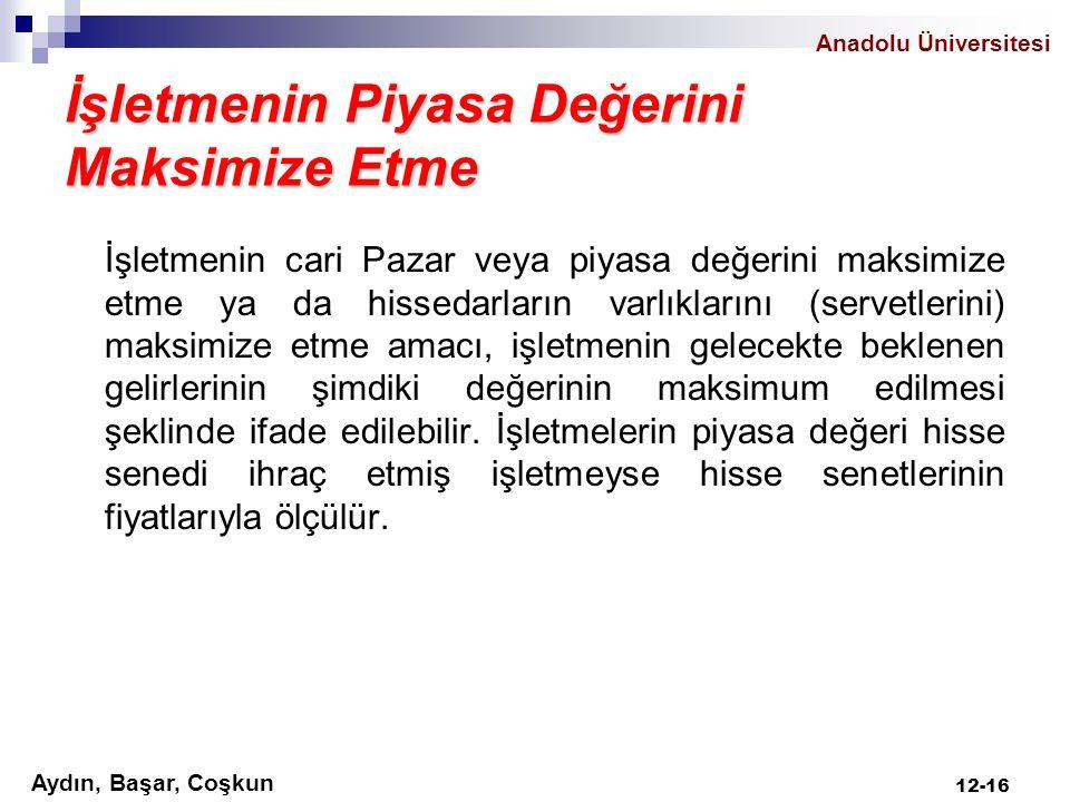 Aydın, Başar, Coşkun Anadolu Üniversitesi İşletmenin Piyasa Değerini Maksimize Etme İşletmenin cari Pazar veya piyasa değerini maksimize etme ya da hi