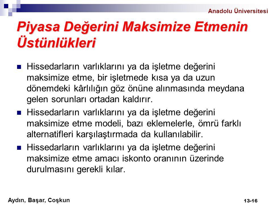 Aydın, Başar, Coşkun Anadolu Üniversitesi Piyasa Değerini Maksimize Etmenin Üstünlükleri Hissedarların varlıklarını ya da işletme değerini maksimize e