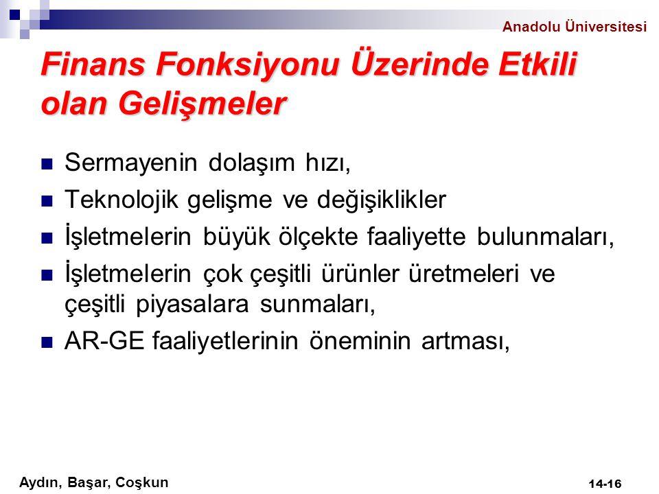 Aydın, Başar, Coşkun Anadolu Üniversitesi Finans Fonksiyonu Üzerinde Etkili olan Gelişmeler Sermayenin dolaşım hızı, Teknolojik gelişme ve değişiklikl
