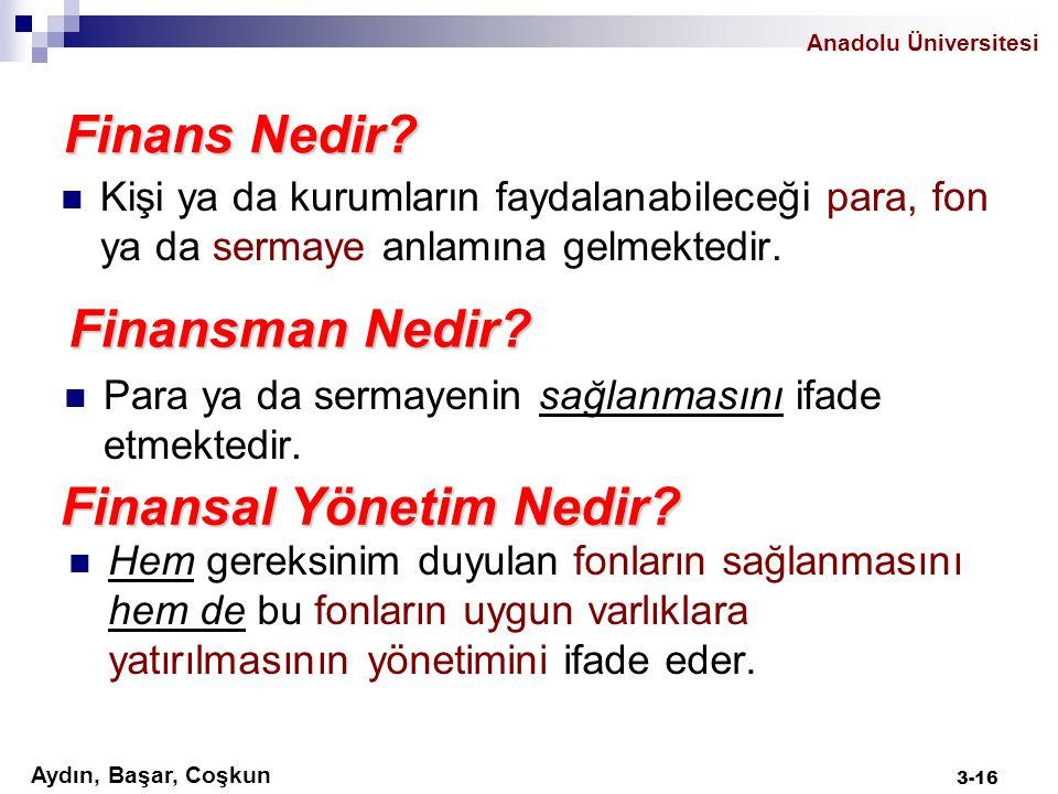Aydın, Başar, Coşkun Anadolu Üniversitesi Finans Nedir? Kişi ya da kurumların faydalanabileceği para, fon ya da sermaye anlamına gelmektedir. Finansma
