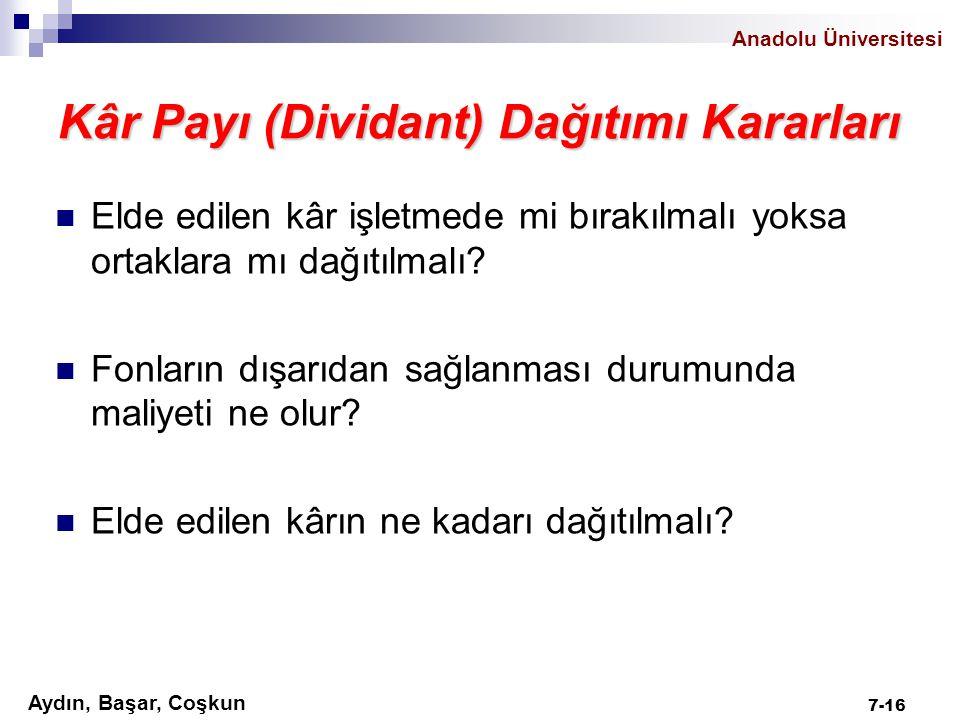 Aydın, Başar, Coşkun Anadolu Üniversitesi Kâr Payı (Dividant) Dağıtımı Kararları Elde edilen kâr işletmede mi bırakılmalı yoksa ortaklara mı dağıtılma