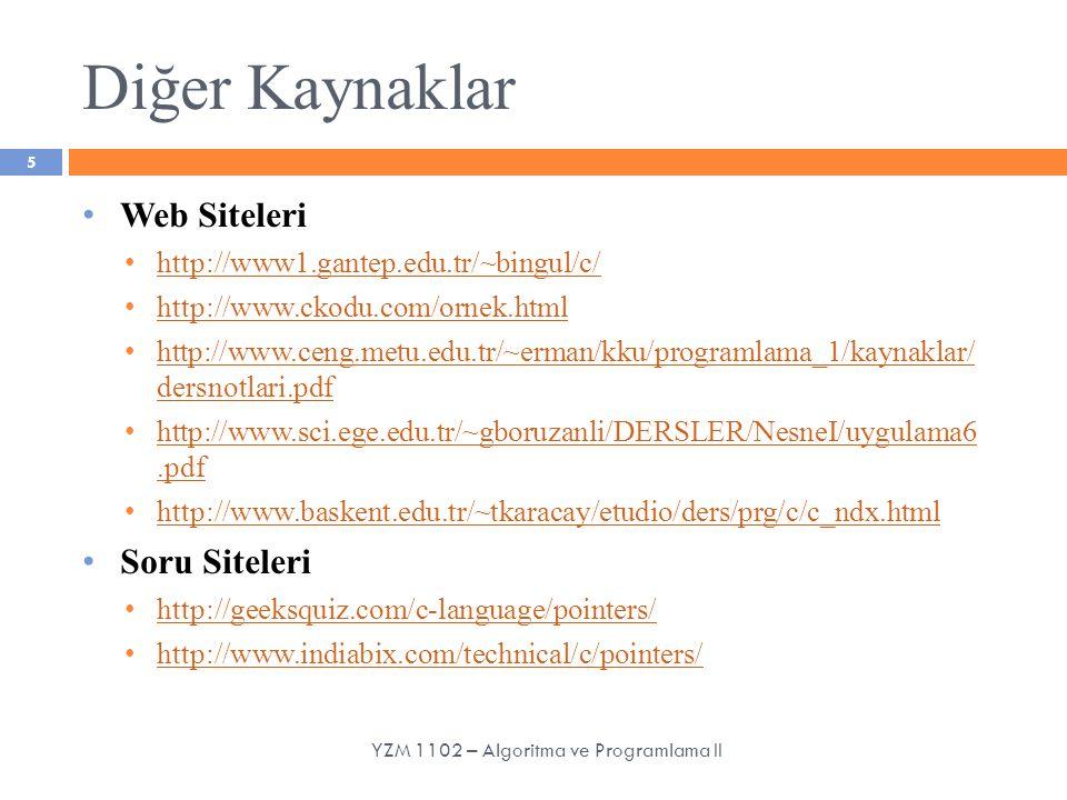 Diğer Kaynaklar Web Siteleri http://www1.gantep.edu.tr/~bingul/c/ http://www.ckodu.com/ornek.html http://www.ceng.metu.edu.tr/~erman/kku/programlama_1