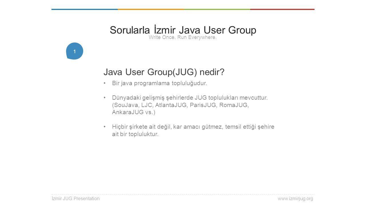 1 Java User Group(JUG) nedir? Bir java programlama topluluğudur. Dünyadaki gelişmiş şehirlerde JUG toplulukları mevcuttur. (SouJava, LJC, AtlantaJUG,