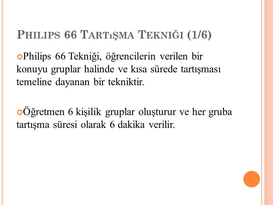 P HILIPS 66 T ARTıŞMA T EKNIĞI (1/6) Philips 66 Tekniği, öğrencilerin verilen bir konuyu gruplar halinde ve kısa sürede tartışması temeline dayanan bir tekniktir.