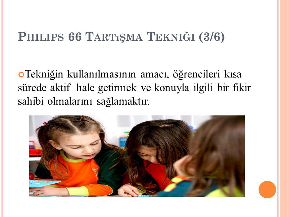 P HILIPS 66 T ARTıŞMA T EKNIĞI (3/6) Tekniğin kullanılmasının amacı, öğrencileri kısa sürede aktif hale getirmek ve konuyla ilgili bir fikir sahibi olmalarını sağlamaktır.