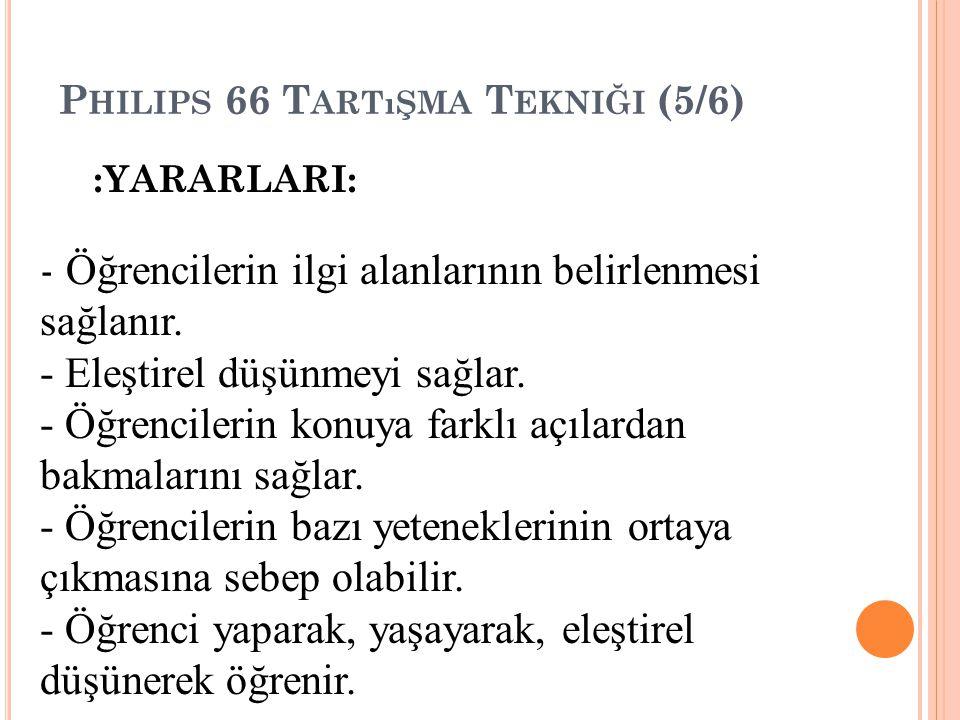 P HILIPS 66 T ARTıŞMA T EKNIĞI (5/6) :YARARLARI: - Öğrencilerin ilgi alanlarının belirlenmesi sağlanır.