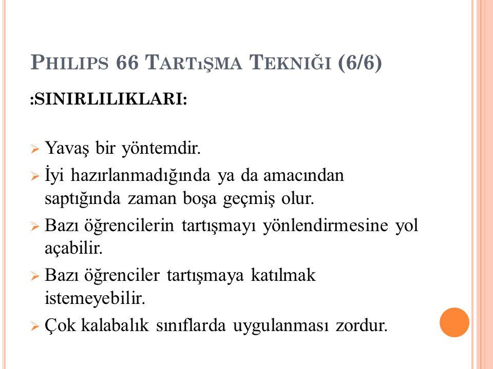 P HILIPS 66 T ARTıŞMA T EKNIĞI (6/6) :SINIRLILIKLARI:  Yavaş bir yöntemdir.