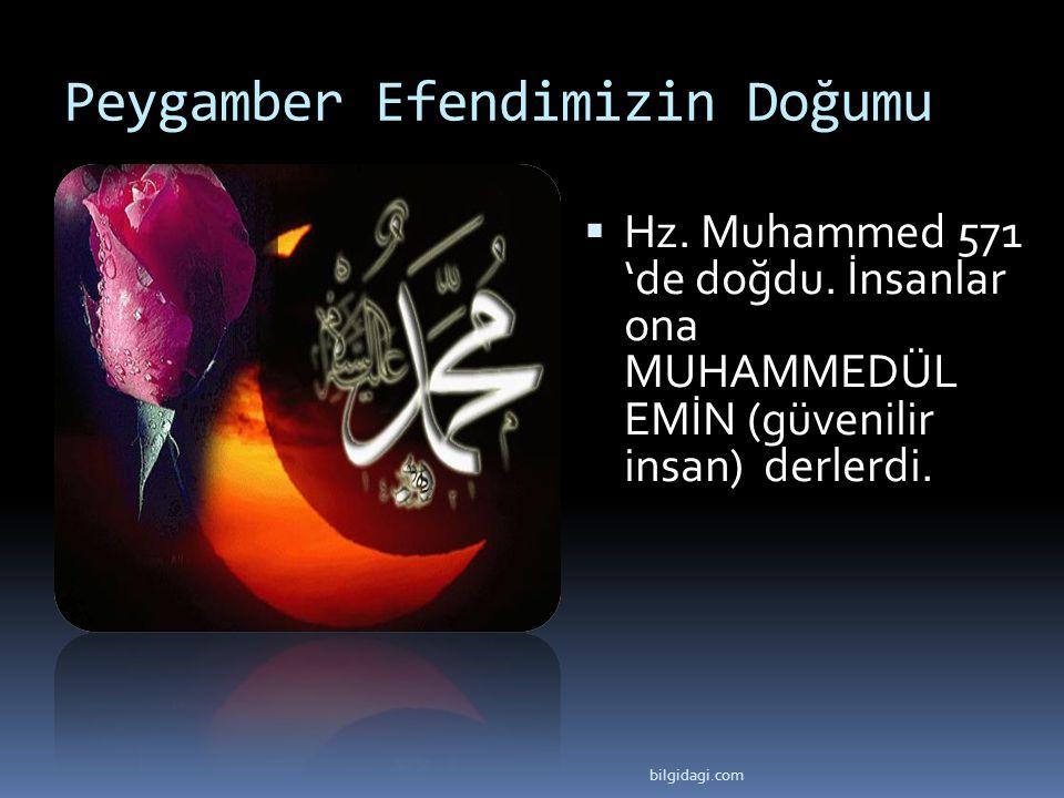 Peygamber Efendimizin Doğumu  Hz. Muhammed 571 'de doğdu. İnsanlar ona MUHAMMEDÜL EMİN (güvenilir insan) derlerdi. bilgidagi.com