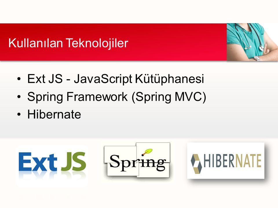 Ext JS - JavaScript Kütüphanesi Spring Framework (Spring MVC) Hibernate Kullanılan Teknolojiler