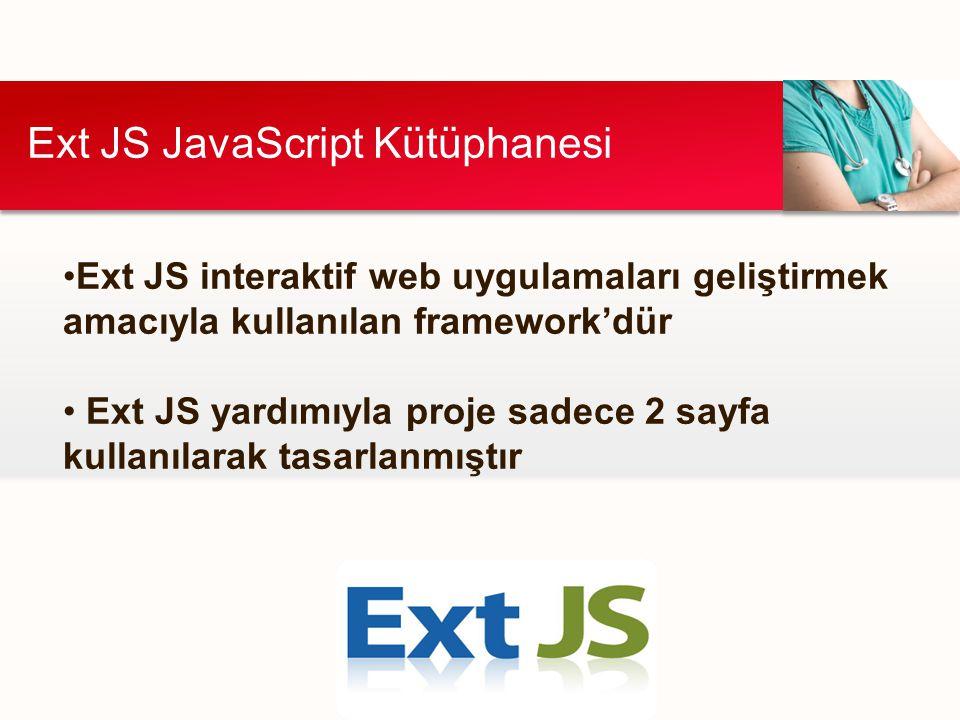 Ext JS JavaScript Kütüphanesi Ext JS interaktif web uygulamaları geliştirmek amacıyla kullanılan framework'dür Ext JS yardımıyla proje sadece 2 sayfa