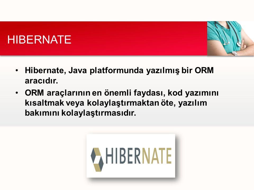Hibernate, Java platformunda yazılmış bir ORM aracıdır. ORM araçlarının en önemli faydası, kod yazımını kısaltmak veya kolaylaştırmaktan öte, yazılım