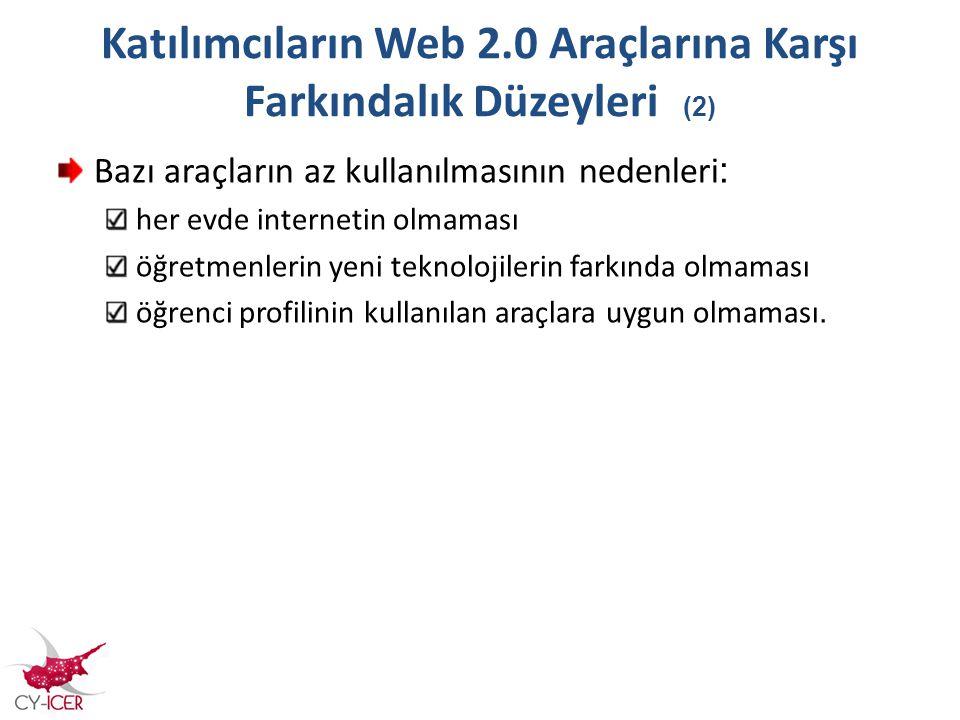 Katılımcıların Web 2.0 Araçlarına Karşı Farkındalık Düzeyleri (2) Bazı araçların az kullanılmasının nedenleri : her evde internetin olmaması öğretmenl