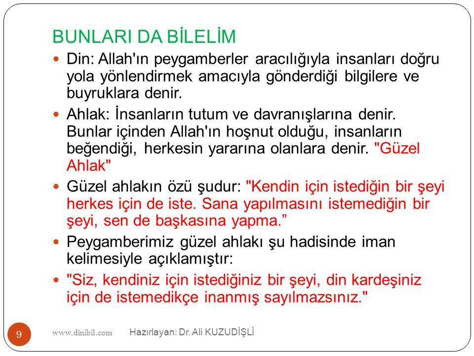 www.dinibil.com Hazırlayan: Dr. Ali KUZUDİŞLİ BUNLARI DA BİLELİM Din: Allah'ın peygamberler aracılığıyla insanları doğru yola yönlendirmek amacıyla gö