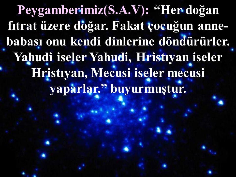 Her insanın doğuştan getirdiği din  İslâm'dır. Yani Fıtrat dini (Yaratılış Dini) İslâm'dır.