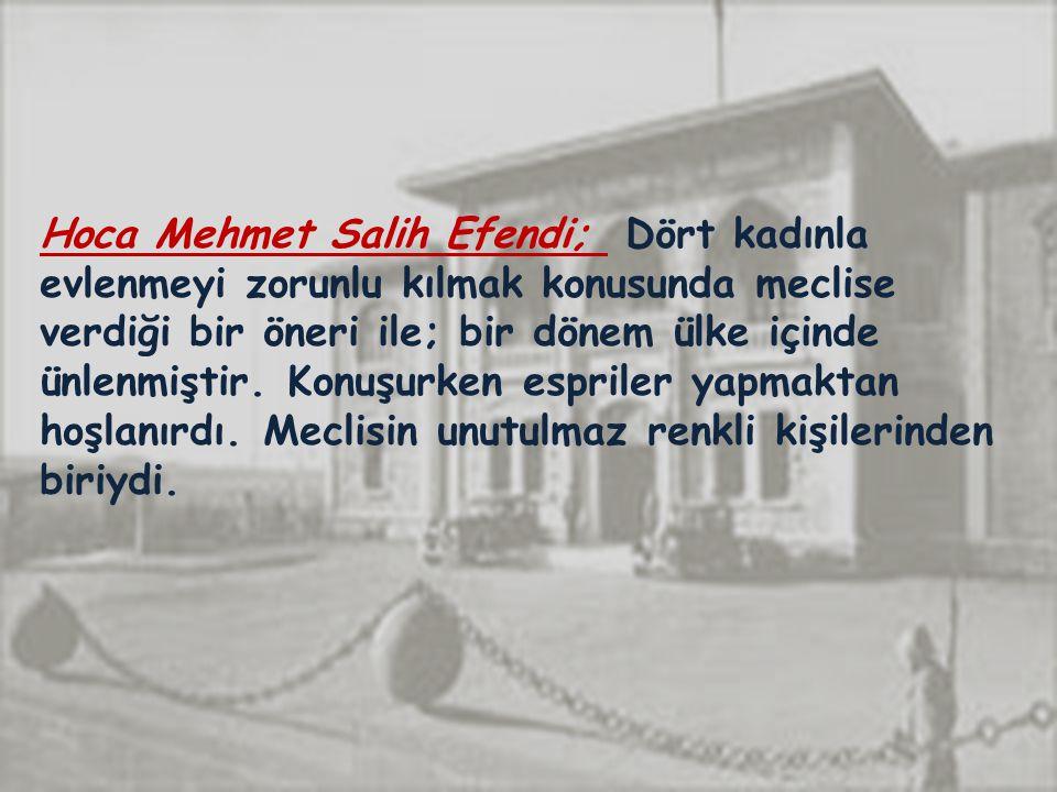 Hoca Mehmet Salih Efendi; Dört kadınla evlenmeyi zorunlu kılmak konusunda meclise verdiği bir öneri ile; bir dönem ülke içinde ünlenmiştir.