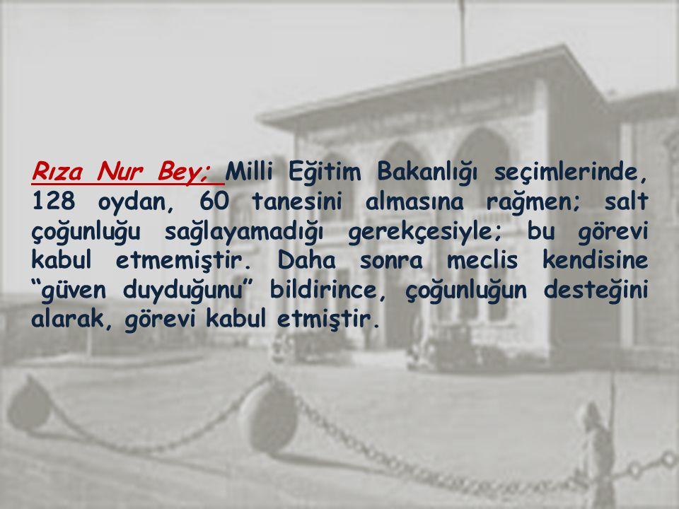 Rıza Nur Bey; Milli Eğitim Bakanlığı seçimlerinde, 128 oydan, 60 tanesini almasına rağmen; salt çoğunluğu sağlayamadığı gerekçesiyle; bu görevi kabul etmemiştir.
