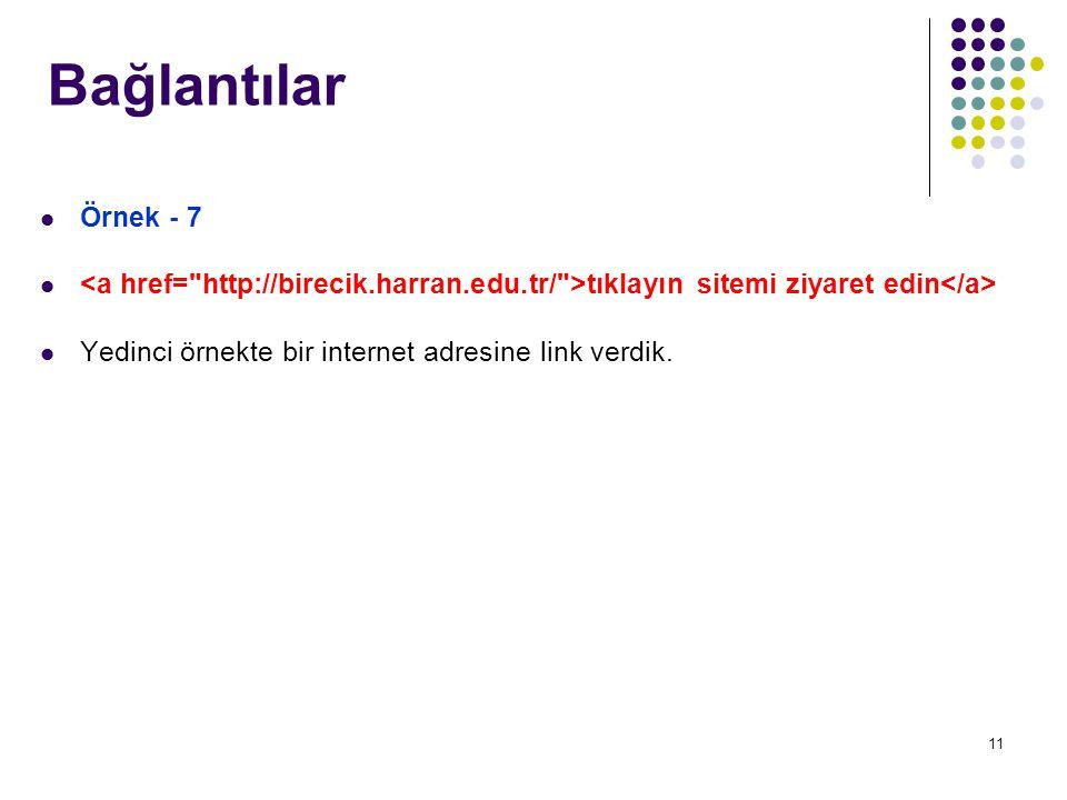 11 Örnek - 7 tıklayın sitemi ziyaret edin Yedinci örnekte bir internet adresine link verdik.