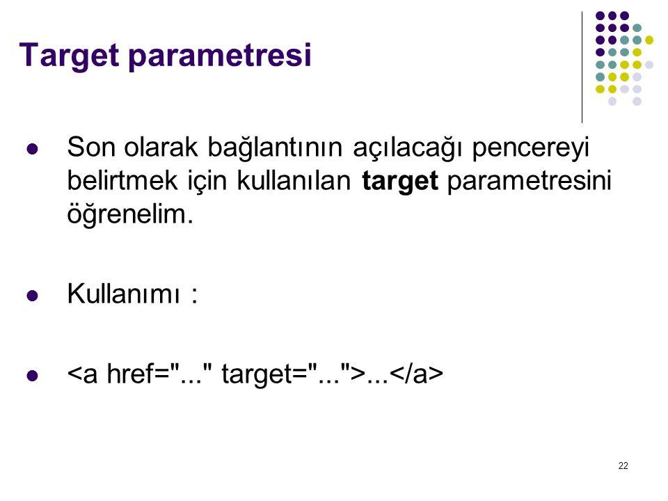 22 Son olarak bağlantının açılacağı pencereyi belirtmek için kullanılan target parametresini öğrenelim.