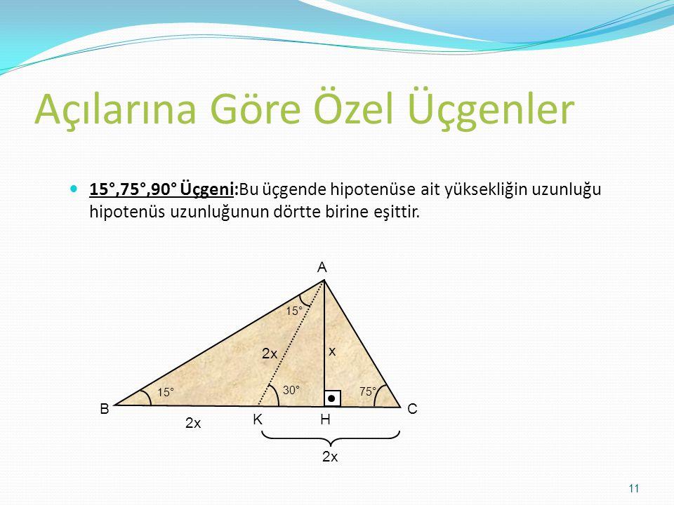 Açılarına Göre Özel Üçgenler 15°,75°,90° Üçgeni:Bu üçgende hipotenüse ait yüksekliğin uzunluğu hipotenüs uzunluğunun dörtte birine eşittir. A BC 15° 7