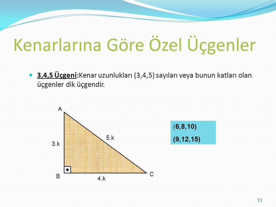 Kenarlarına Göre Özel Üçgenler 3,4,5 Üçgeni:Kenar uzunlukları (3,4,5) sayıları veya bunun katları olan üçgenler dik üçgendir. 3.k 4.k 5.k A B C (6,8,1