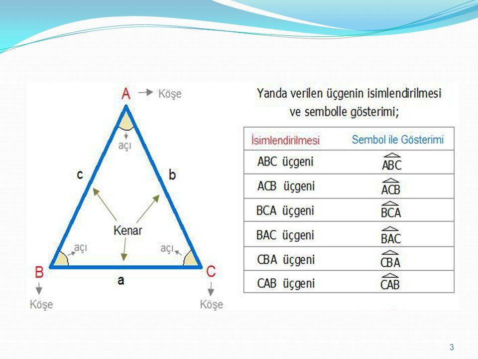 Kenarlarına Göre Özel Üçgenler 5,12,13 Üçgeni:Kenar uzunlukları (5,12,13) sayıları veya bu sayıların katları olan üçgenler dik üçgendir.