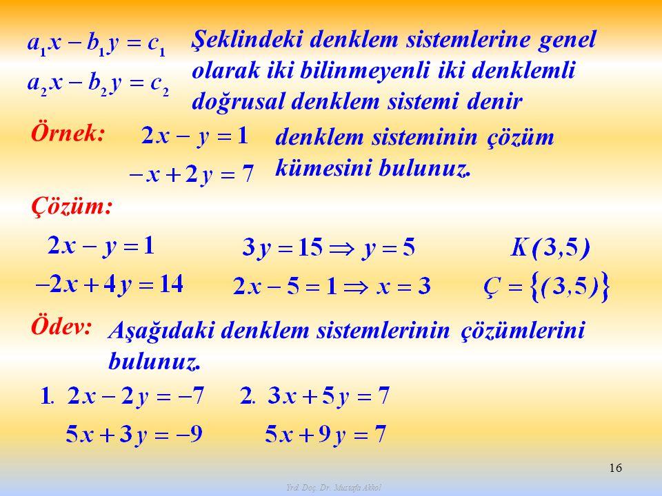 Yrd. Doç. Dr. Mustafa Akkol 16 Şeklindeki denklem sistemlerine genel olarak iki bilinmeyenli iki denklemli doğrusal denklem sistemi denir Örnek: denkl