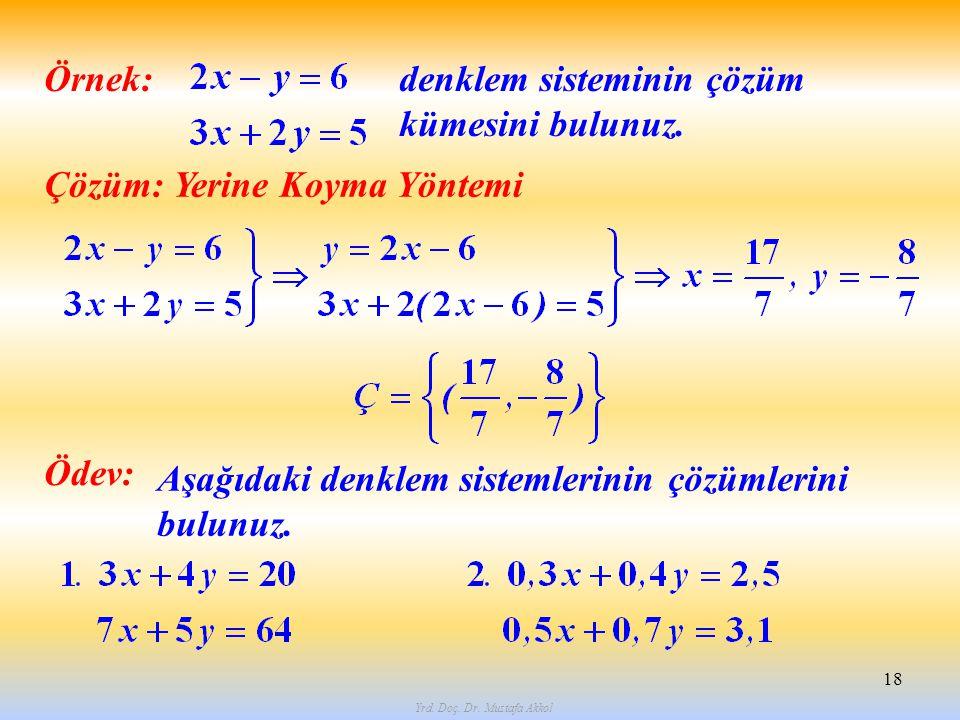 Yrd. Doç. Dr. Mustafa Akkol 18 Örnek: Çözüm: Yerine Koyma Yöntemi denklem sisteminin çözüm kümesini bulunuz. Ödev: Aşağıdaki denklem sistemlerinin çöz