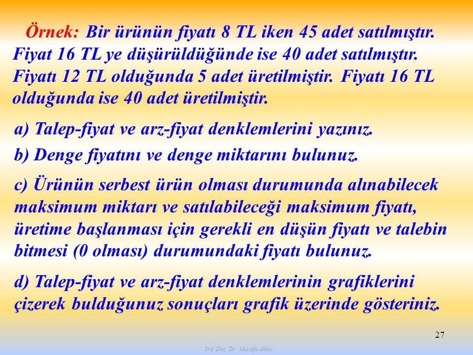 Yrd. Doç. Dr. Mustafa Akkol 27 Örnek: Bir ürünün fiyatı 8 TL iken 45 adet satılmıştır. Fiyat 16 TL ye düşürüldüğünde ise 40 adet satılmıştır. Fiyatı 1