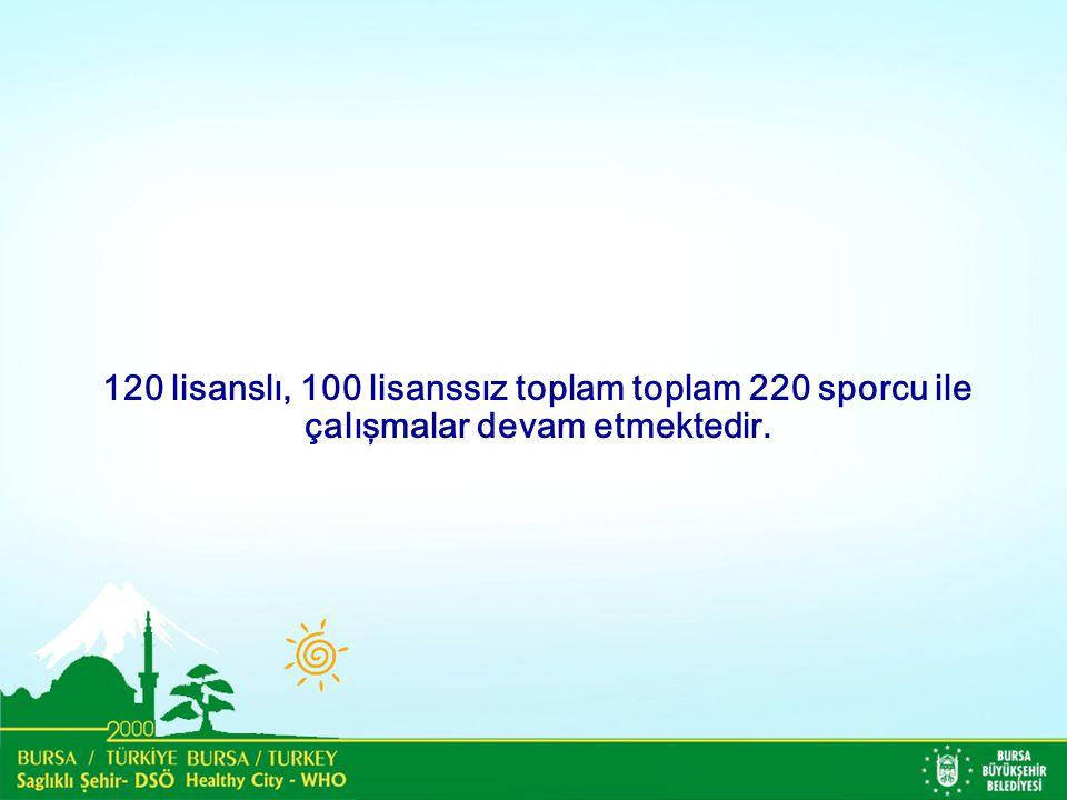 120 lisanslı, 100 lisanssız toplam toplam 220 sporcu ile çalışmalar devam etmektedir.