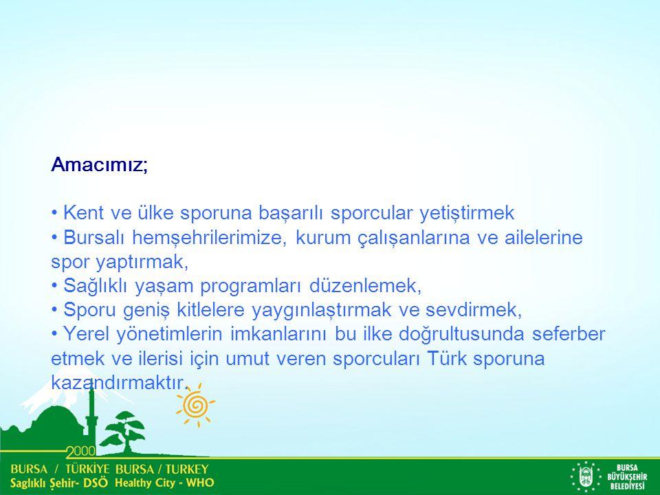 Amacımız; Kent ve ülke sporuna başarılı sporcular yetiştirmek Bursalı hemşehrilerimize, kurum çalışanlarına ve ailelerine spor yaptırmak, Sağlıklı yaşam programları düzenlemek, Sporu geniş kitlelere yaygınlaştırmak ve sevdirmek, Yerel yönetimlerin imkanlarını bu ilke doğrultusunda seferber etmek ve ilerisi için umut veren sporcuları Türk sporuna kazandırmaktır.