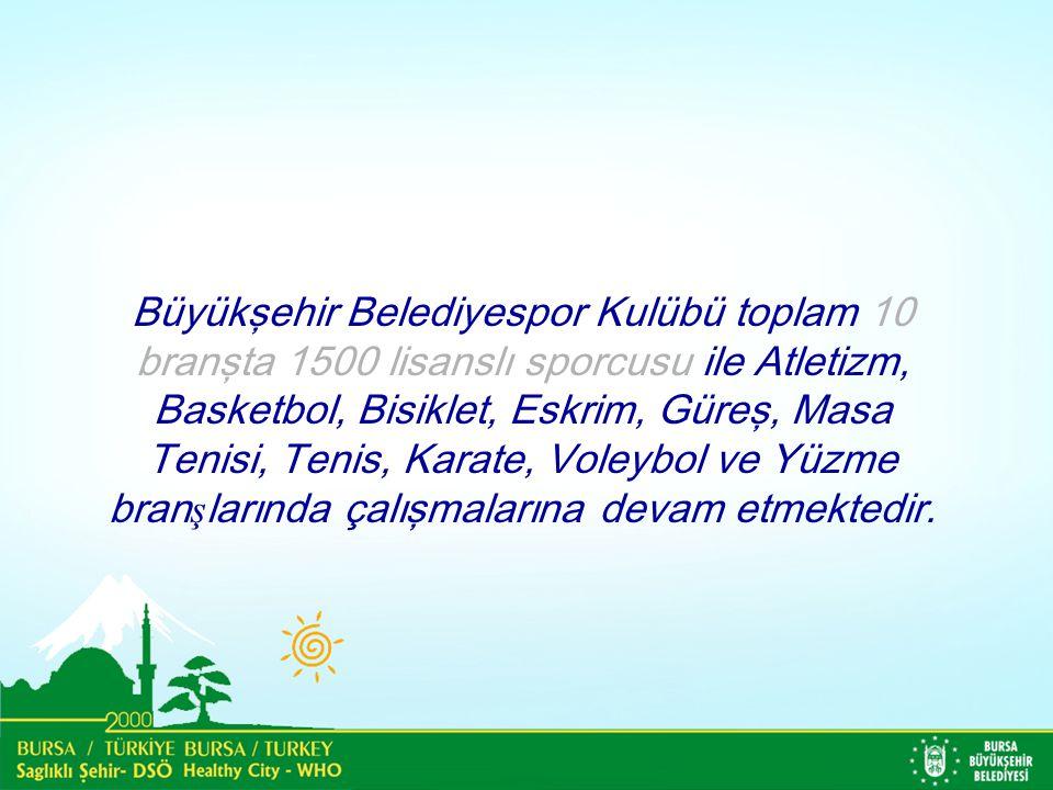 Büyükşehir Belediyespor Kulübü toplam 10 branşta 1500 lisanslı sporcusu ile Atletizm, Basketbol, Bisiklet, Eskrim, Güreş, Masa Tenisi, Tenis, Karate, Voleybol ve Yüzme bran ş larında çalışmalarına devam etmektedir.