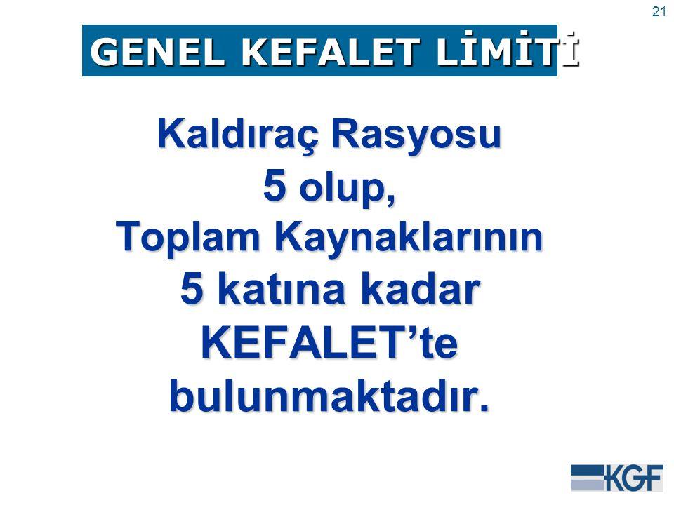 21 Kaldıraç Rasyosu 5 olup, Toplam Kaynaklarının 5 katına kadar KEFALET'tebulunmaktadır.