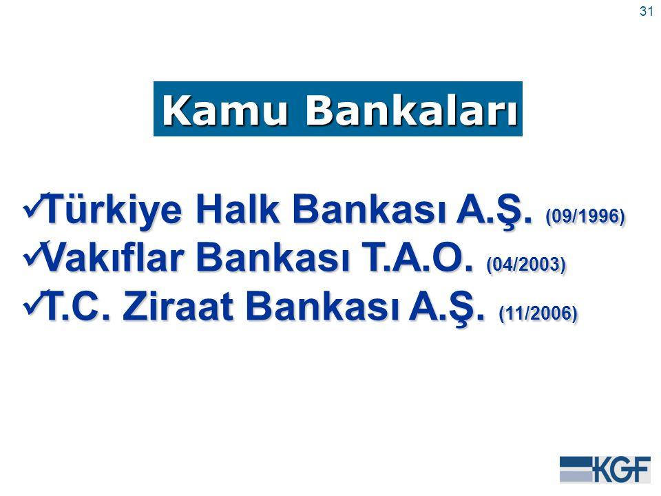 31 Kamu Bankaları Türkiye Halk Bankası A.Ş. (09/1996) Türkiye Halk Bankası A.Ş.