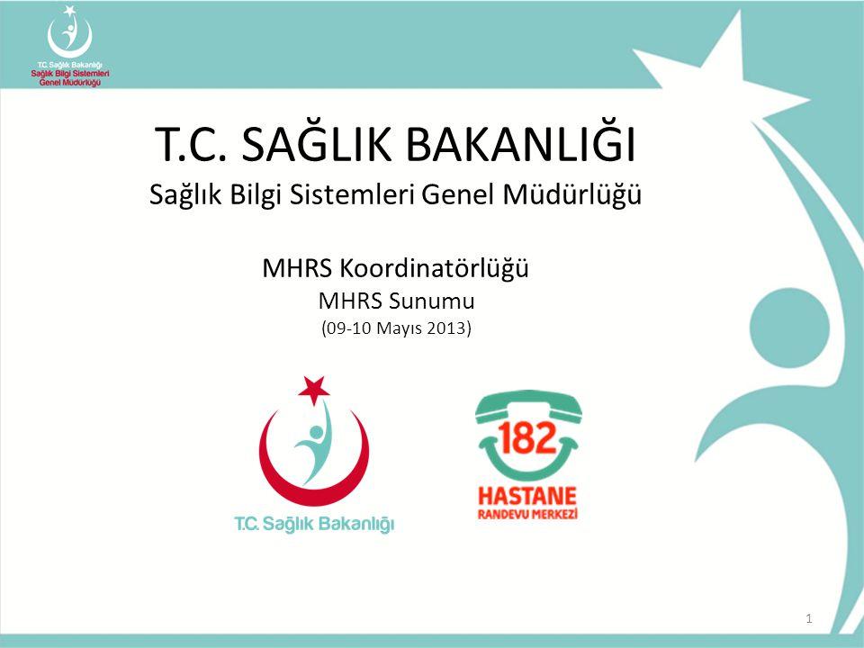 T.C. SAĞLIK BAKANLIĞI Sağlık Bilgi Sistemleri Genel Müdürlüğü MHRS Koordinatörlüğü MHRS Sunumu (09-10 Mayıs 2013) 1