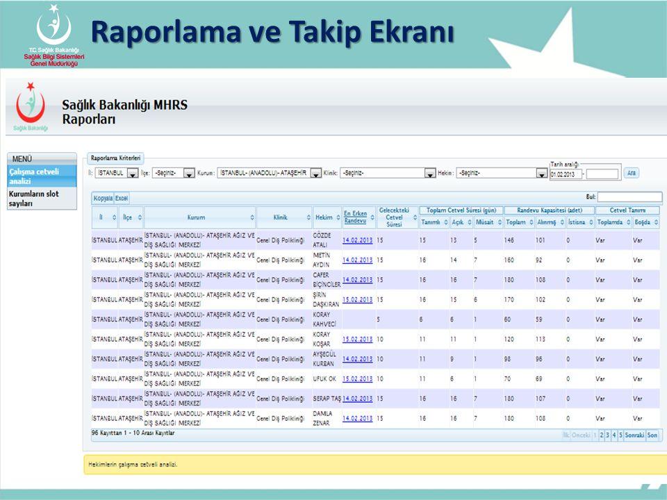 Raporlama ve Takip Ekranı 13