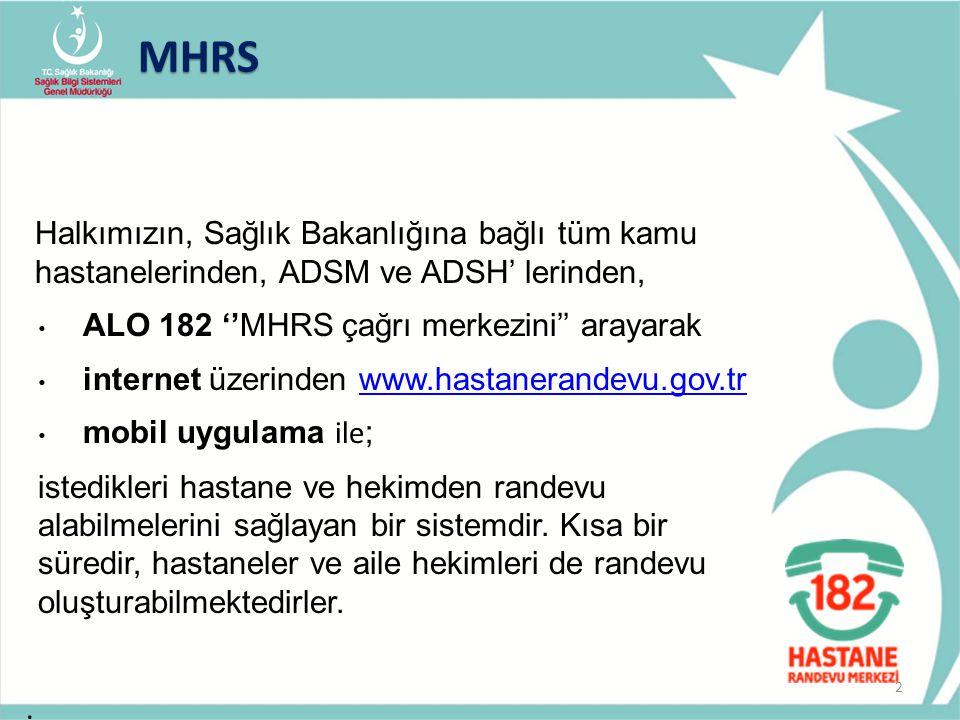 Halkımızın, Sağlık Bakanlığına bağlı tüm kamu hastanelerinden, ADSM ve ADSH' lerinden, ALO 182 ''MHRS çağrı merkezini'' arayarak internet üzerinden ww
