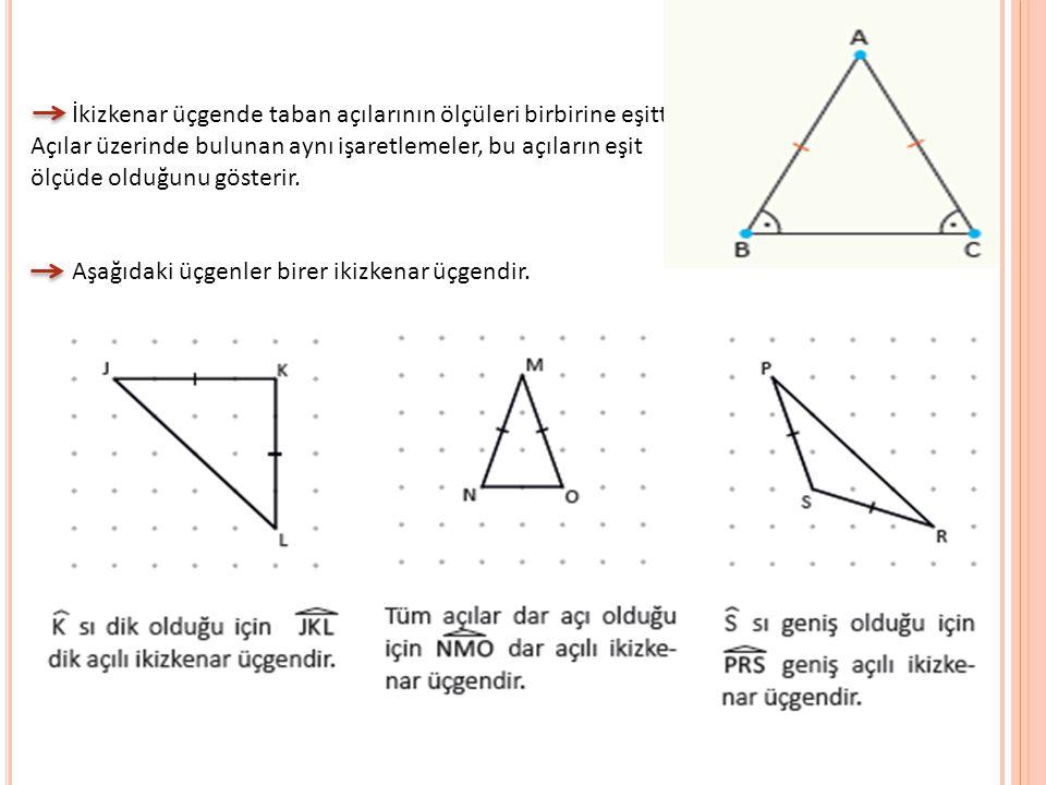 İkizkenar üçgende taban açılarının ölçüleri birbirine eşittir. Açılar üzerinde bulunan aynı işaretlemeler, bu açıların eşit ölçüde olduğunu gösterir.