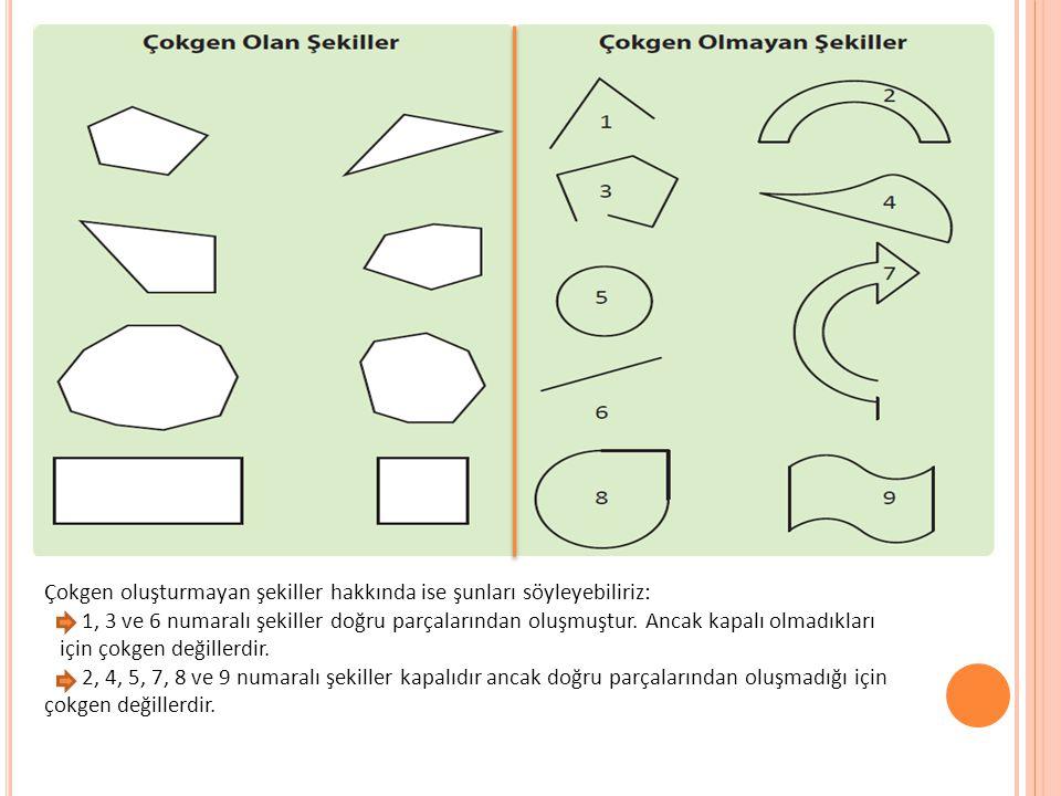 Çokgen oluşturmayan şekiller hakkında ise şunları söyleyebiliriz: 1, 3 ve 6 numaralı şekiller doğru parçalarından oluşmuştur. Ancak kapalı olmadıkları