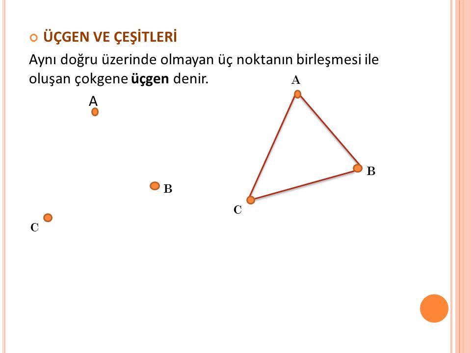 ÜÇGEN VE ÇEŞİTLERİ Aynı doğru üzerinde olmayan üç noktanın birleşmesi ile oluşan çokgene üçgen denir. A C B A C B