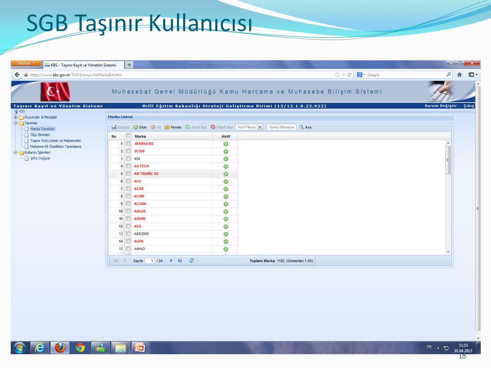 SGB TAŞINIR KULLANICISI 18 SGB Taşınır Kullanıcısı