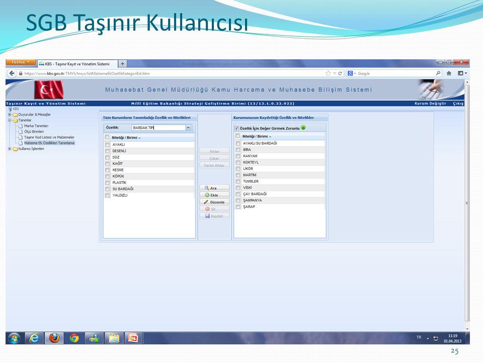 SGB TAŞINIR KULLANICISI 25 SGB Taşınır Kullanıcısı
