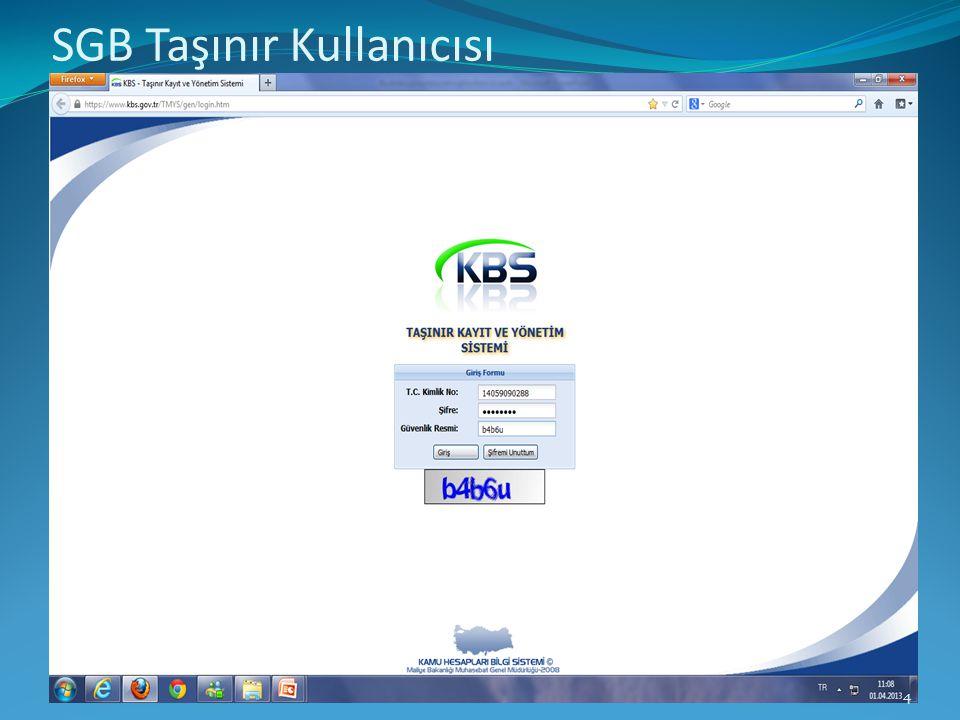Kbs anasayfa ekranı yapğıştır. 4 SGB Taşınır Kullanıcısı