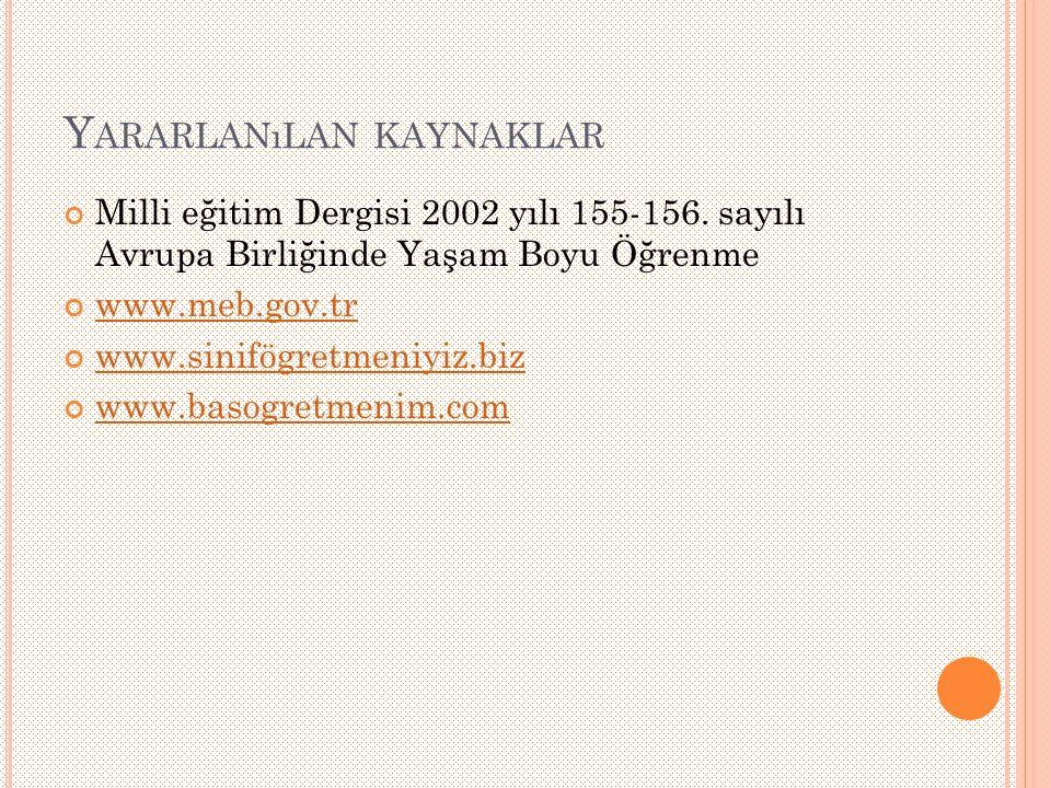 Y ARARLANıLAN KAYNAKLAR Milli eğitim Dergisi 2002 yılı 155-156.