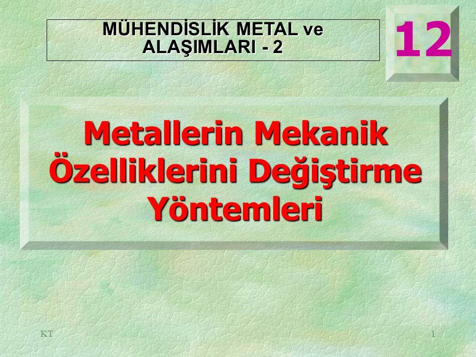 KT1 Metallerin Mekanik Özelliklerini Değiştirme Yöntemleri 12 MÜHENDİSLİK METAL ve ALAŞIMLARI - 2