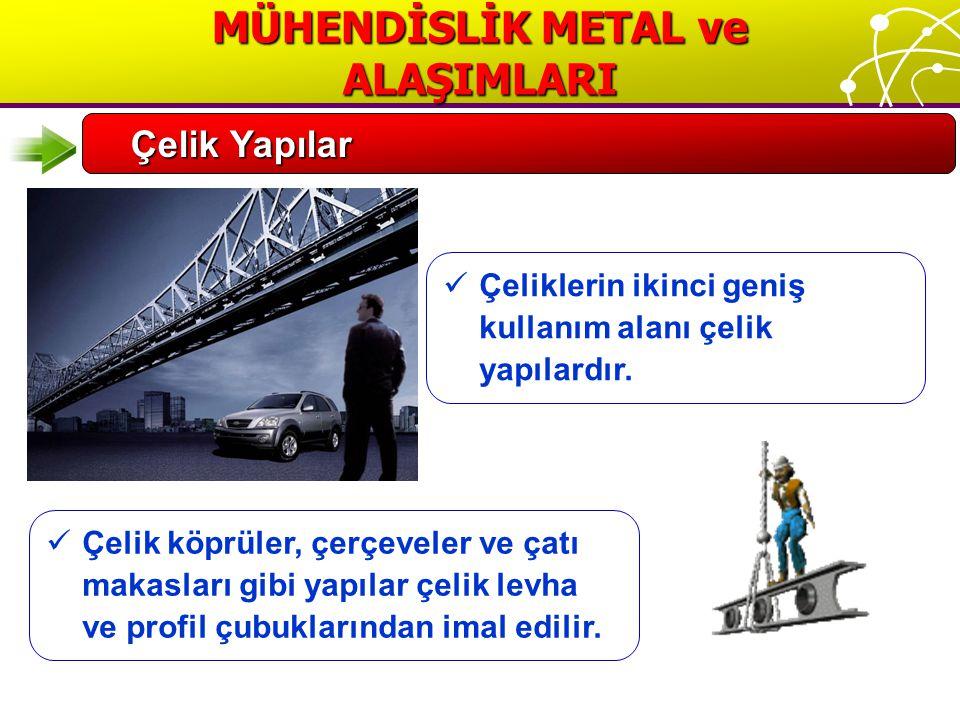 MÜHENDİSLİK METAL ve ALAŞIMLARI Çelik Yapılar Çeliklerin ikinci geniş kullanım alanı çelik yapılardır.