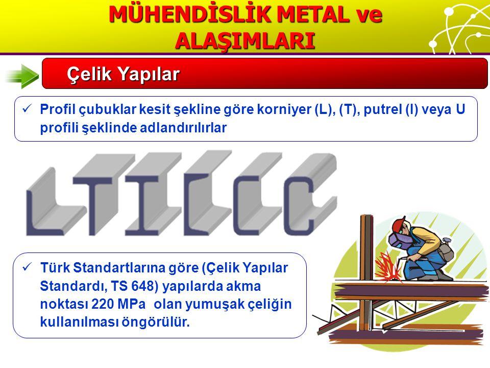 MÜHENDİSLİK METAL ve ALAŞIMLARI Çelik Yapılar Profil çubuklar kesit şekline göre korniyer (L), (T), putrel (I) veya U profili şeklinde adlandırılırlar Türk Standartlarına göre (Çelik Yapılar Standardı, TS 648) yapılarda akma noktası 220 MPa olan yumuşak çeliğin kullanılması öngörülür.